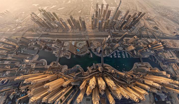 Luftaufnahme der Dubai Marina