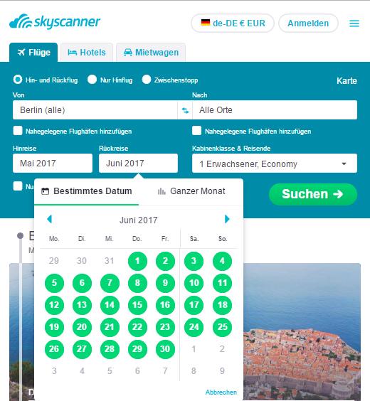 Skyscanner Reisedatum