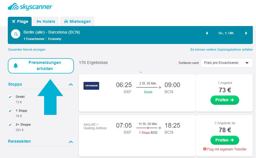 Flugpreise einfach verfolgen mit der Skyscanner Preismeldung